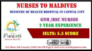 NURSES TO MALDIVES - MINISTRY OF HEALTH HOSPITAL IN CAPITAL CITY