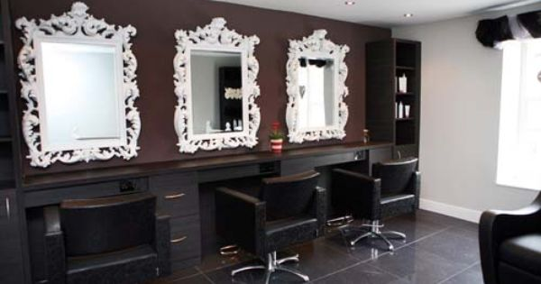 if your chairs are black you should get white framed mirrors so they accentuate each other you can find some beautiful salon