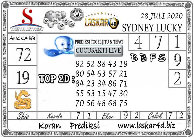 Prediksi Sydney Lucky Today LASKAR4D 28 JULI 2020