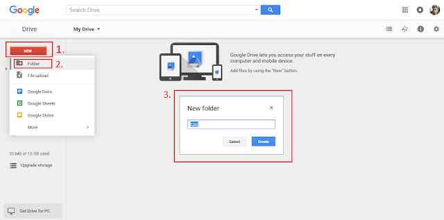 How to add folder in Google drive