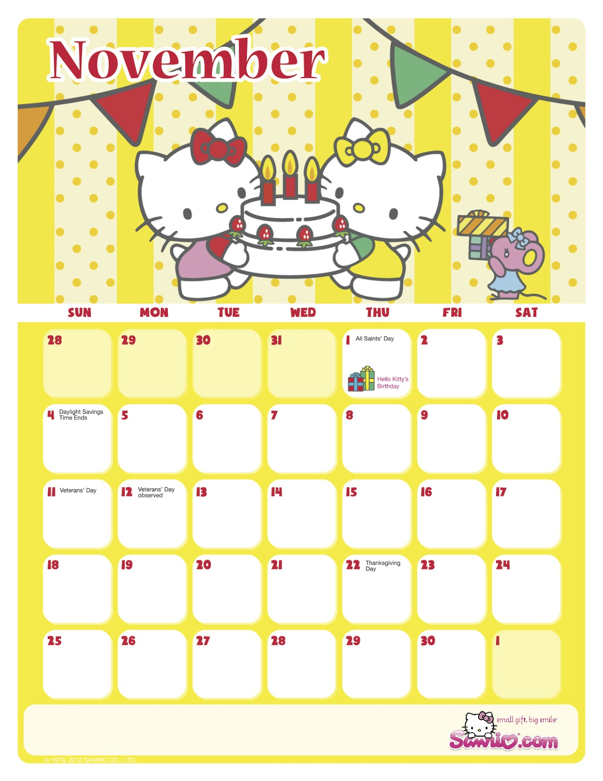 Hello Kitty Loft Hello Kitty November 2012 Calendar