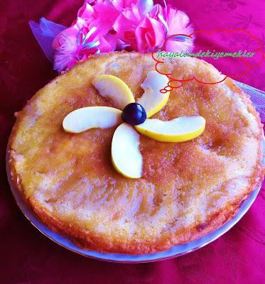 Portakal Aromalı Elmalı Pasta tarifi ,elmayla yapilan pastalar