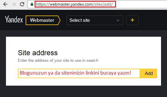Yandex Webmaster'a blogumu ekledim