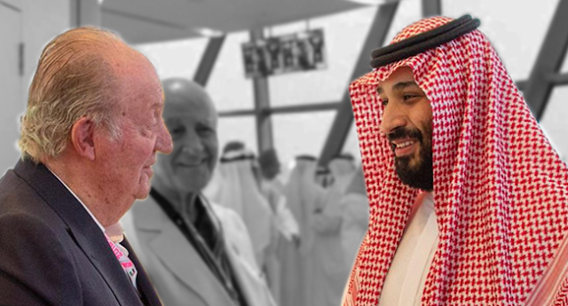 Indignación por una imagen del rey emérito con el heredero de la corona saudí