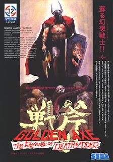 Flyer publicitario de Golden Axe: The Revenge of Death Adder para recreativas de Sega, 1992