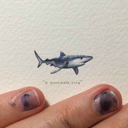 11-Blue-Shark-Lorraine-Loots-Miniature-Paintings-Commemorating-Special-Occasions-www-designstack-co