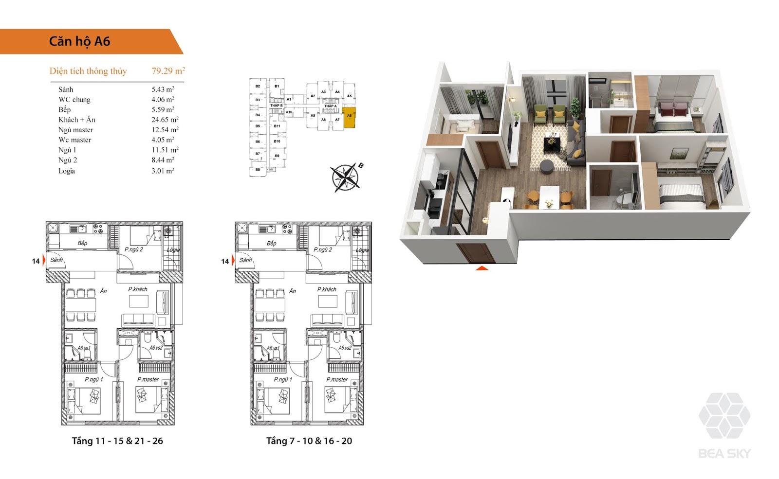 Thiết kế căn A6 chung cư Bea Sky Nguyễn xiển