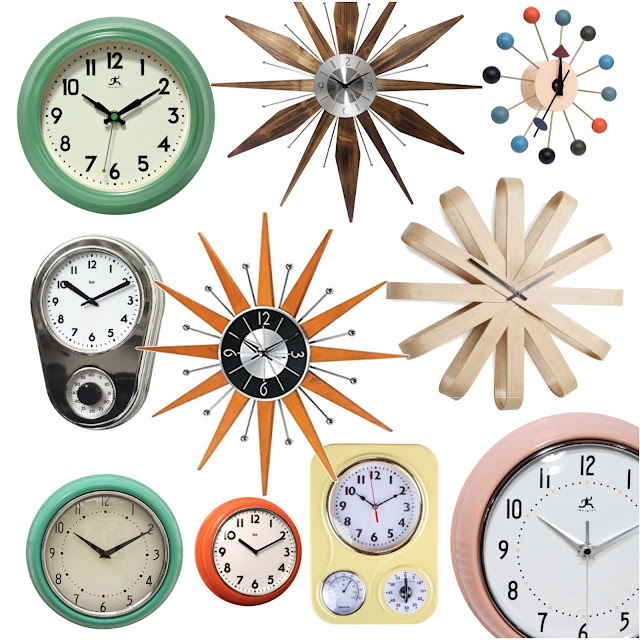 sources for affordable retro mid century inspired wall clocks || Sew at Home Mummy