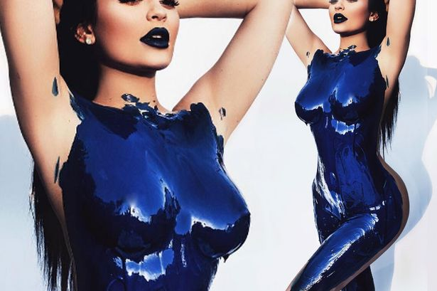 Kylie Jenner strips off in a new photoshoot (Blue-paint)