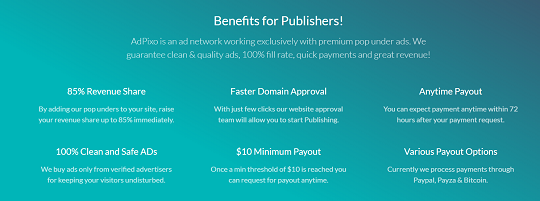 publisher, adpixo, cpm rate, popads