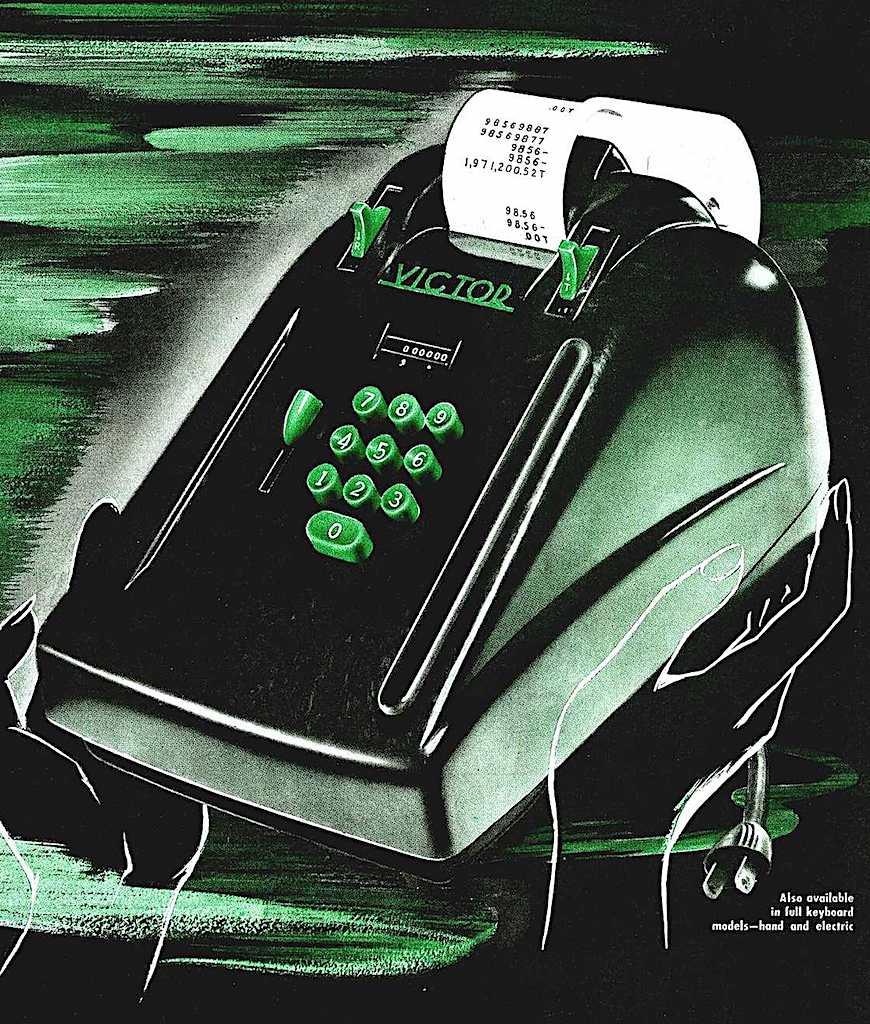 a 1947 Victor portable electric calculator, color illustration
