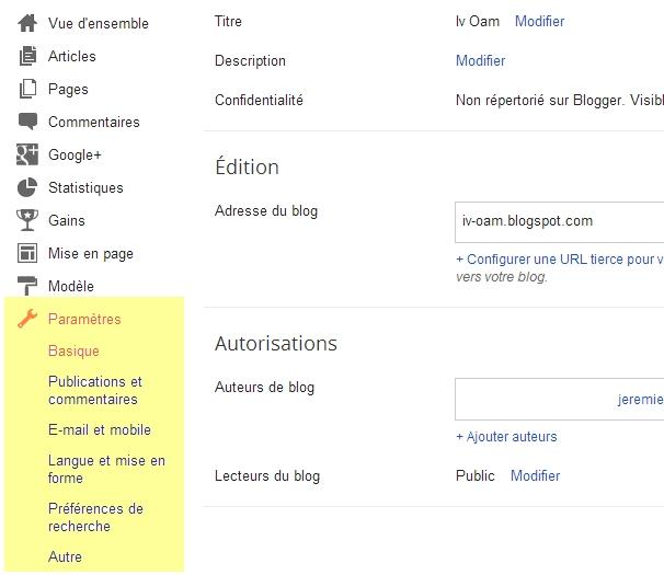 paramètres blogger
