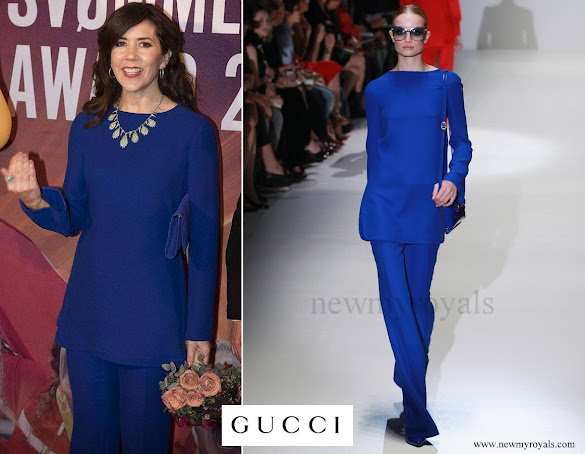 Crown Princess Mary wore Gucci Electric Blue Pantsuit