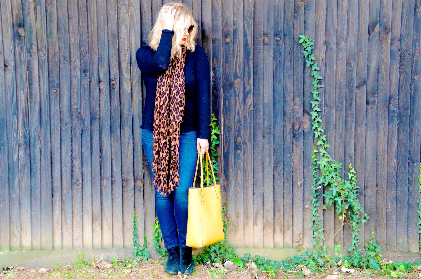 Leopard Print Accessorize Scarf, black long sleeve tee, skinny jeans, yellow leather tote