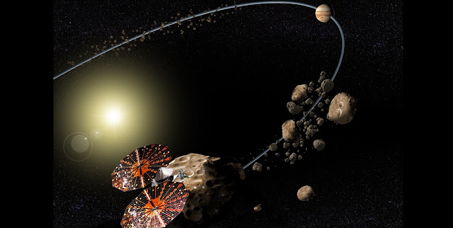 Conceptual image of the Lucy mission to the Trojan asteroids. Credits: NASA/SwRI