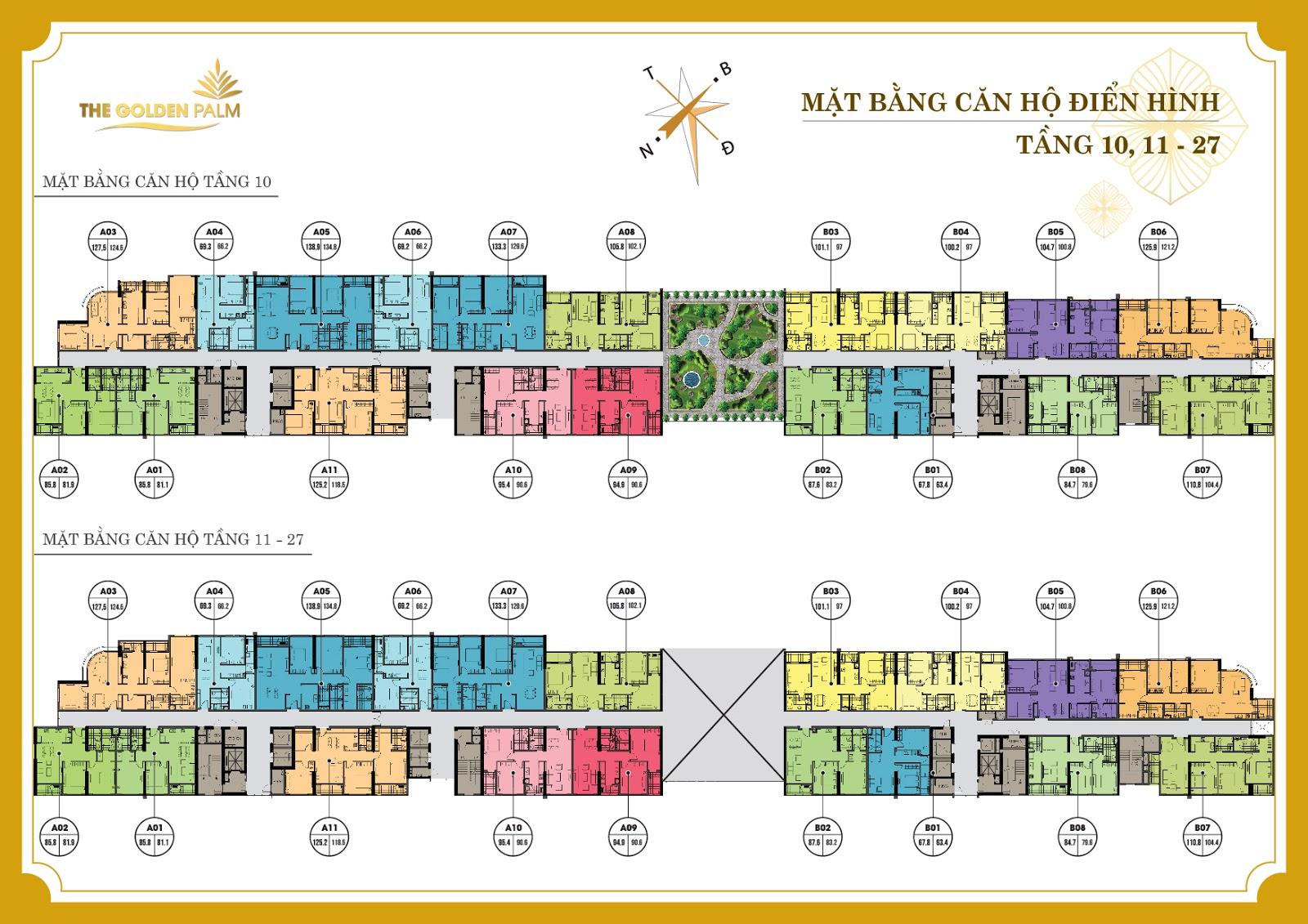 Mặt bằng tổng thể dự án The Golden Palm tầng 10-11-27