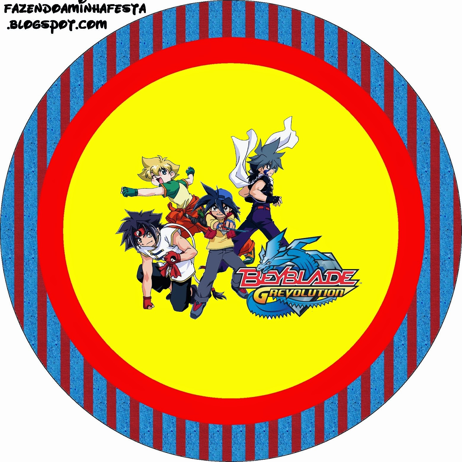 Beyblade Toppers or Free Printable Candy Bar Labels.