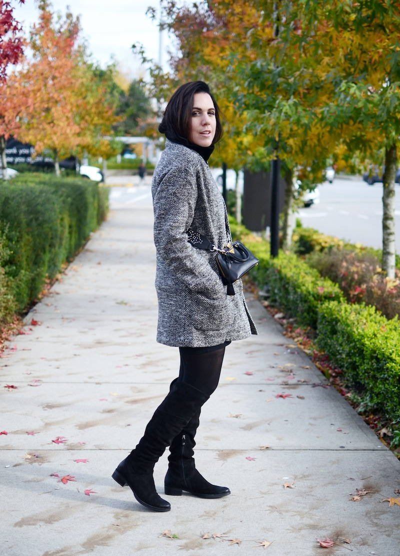 over the knee boot outfit Vancouver fashion blogger Geox Mendi over the knee boots, Aritzia Naleem coat Prada mini bag Guitar strap Rebecca Minkoff