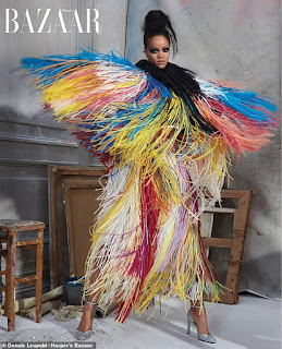 Rihanna wows in multi-coloured tasselled cape for Harper's Bazaar