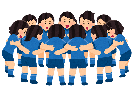 円陣を組む人たちのイラスト(女性スポーツ選手)