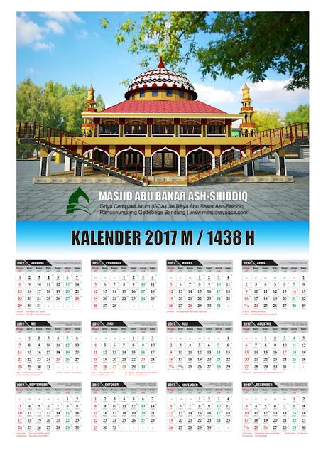 Kalender 2017 M / 1438 H Masjid Raya Abu Bakar Ash-Shiddiq GCA