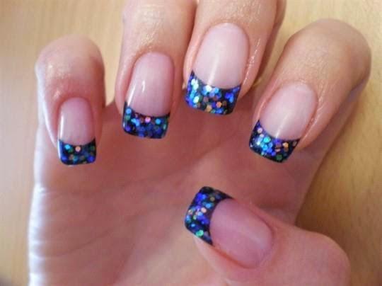 led french manicure royal blue