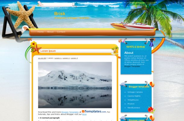 Free Blogger Exotic Travel Beach Layout Template