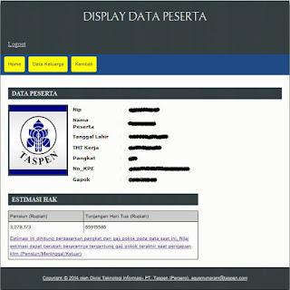 Display Data Hak Pensiun dan THT