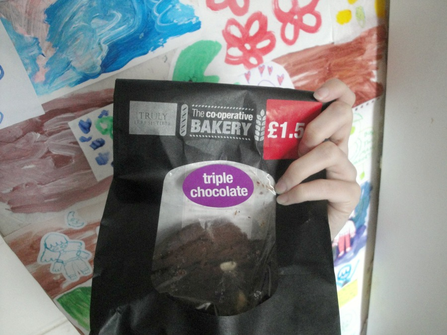 The bag of cookies. They are triple chocolate cookies from The Co-op's truly irresistible range.