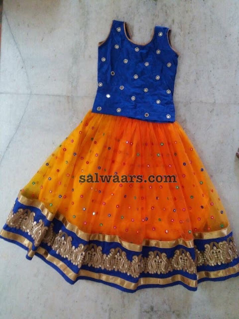 Orange Mirror Lehenga Blue Blouse