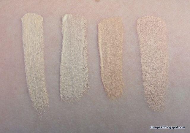 Swatches of Kevyn Aucoin Sensual Skin Enhancer in Sx01, Nars Chantilly, Sephora Fondant, and TheBalm Lighter than Light