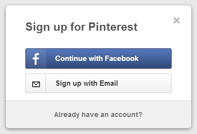 pinterest sign up without facebook