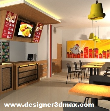 desain interior cafe cepat saji minimalis modern - jasa