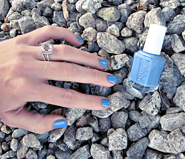blue nails, essie lapiz of luxury nail polish