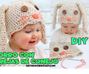 Patrones de gorro para bebé con orejas de conejo | Paso a paso