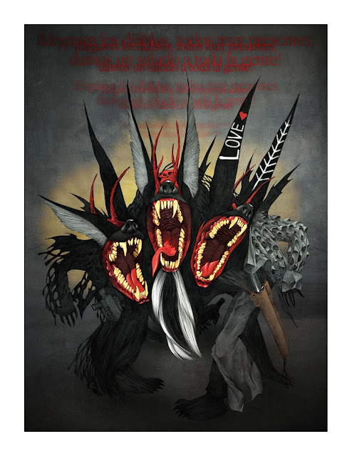 A three-headed doglike creature with red text, unclear, above it