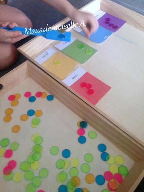 Tri des couleurs, cartes de nomenclature et pions aimantés