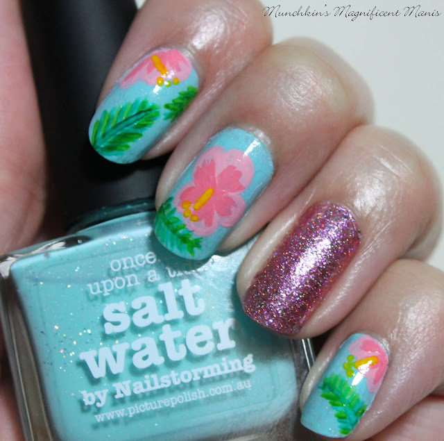 Hibiscus Flower Nail Design with Picture Polish Salt Water