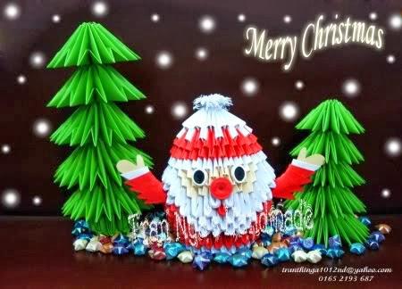 3D origami small Santa - YouTube | 324x450