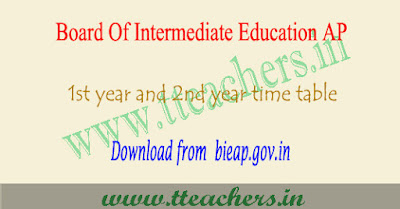 AP Inter time table 2019, 1st 2nd year exam schedule