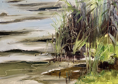 """Waterside"", plein air oil painting by painter Philine van der Vegte"
