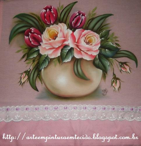 flores pintura em tecido vaso