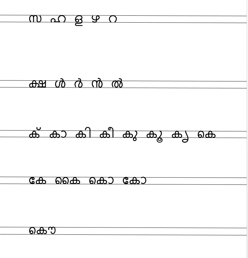 sahithi blog: malayalam letters in two line copy