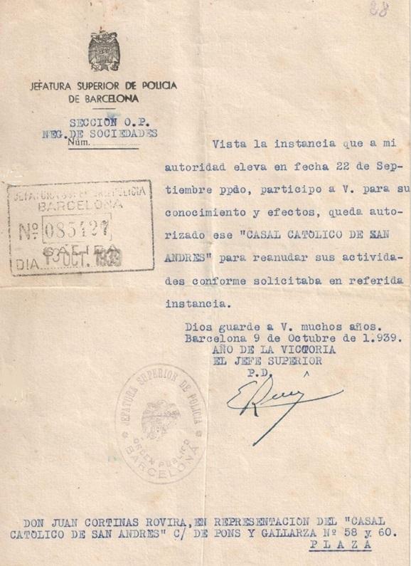 Oficio de la Jefatura Superior de Policía de Barcelona, 1939