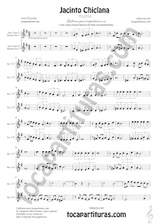 Soprano Sax y Saxo Tenor Partitura a dos voces de Jacinto Chiclana Sheet Music for Soprano Sax and Tenor Saxophone Music Scores