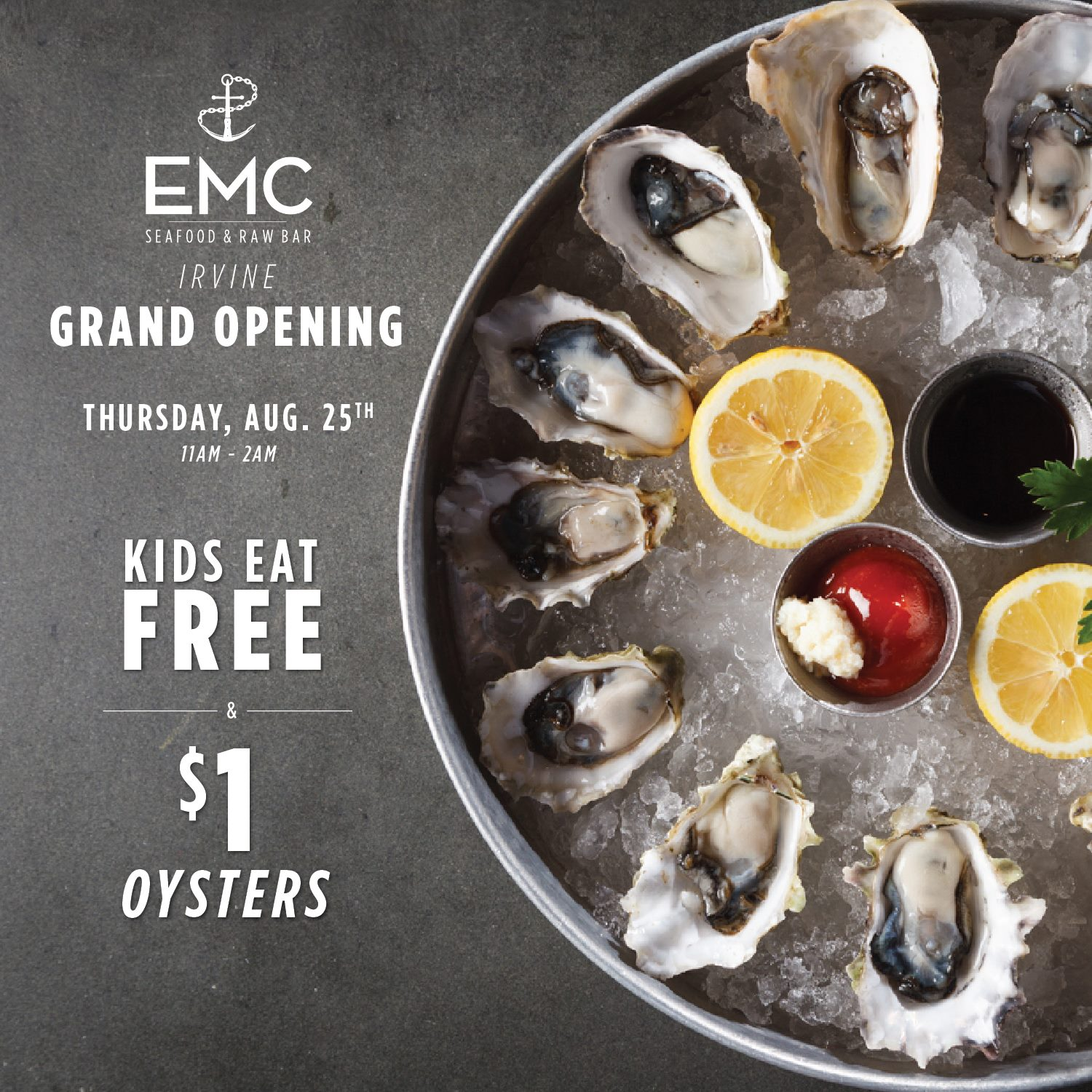 EMC SEAFOOD AND RAW BAR: GRAND OPENING IN IRVINE OFFERS $1 OYSTERS ON AUG 25