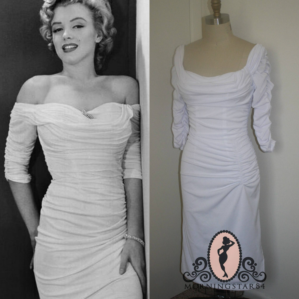 This Was A Custom Request Dress Styled After The Ceil Chapman Marilyn Monroe Wore On Cover Of Life Magazine Base Is Stretch Satin With Bra