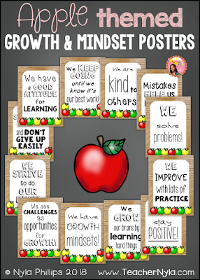 Apple theme Growth Mindset Posters