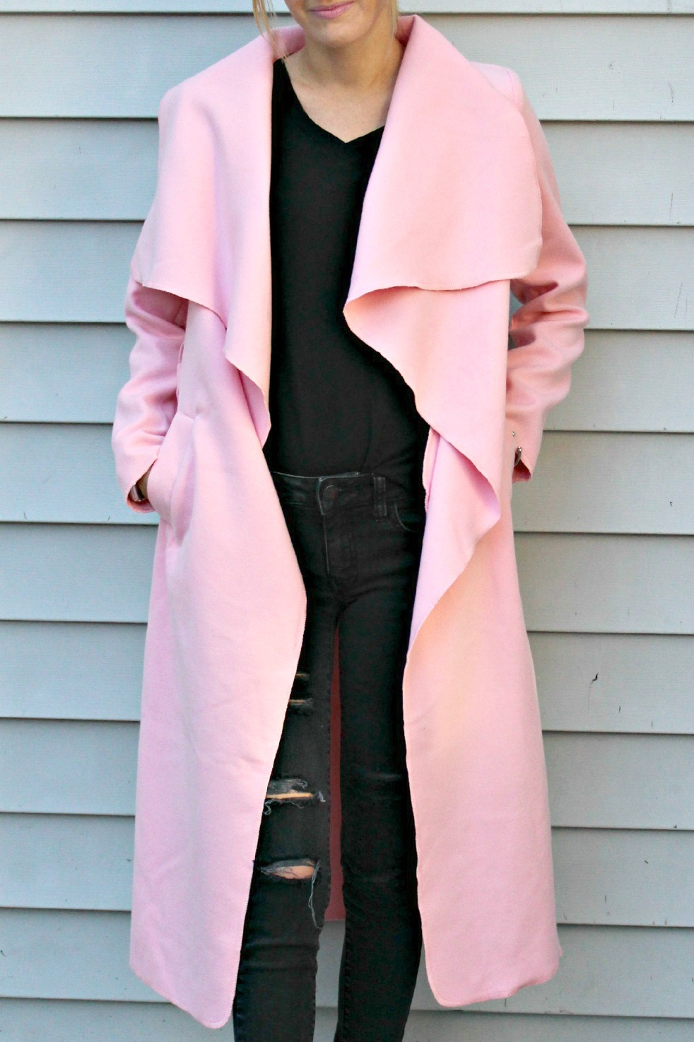 shein wrap coat in pink