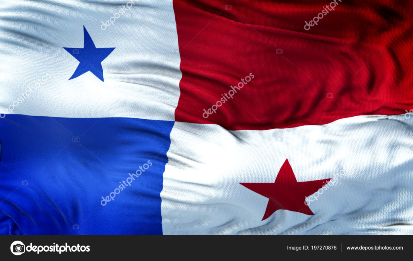 Panama Realistic Waving Flag Highly Detailed Fabric Texture